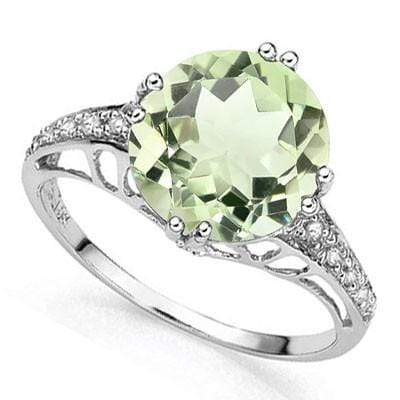 ELEGANT 3.43 CT GREEN AMETHYST & 56 PCS GENUINE DIAMOND 10K SOLID WHITE GOLD RING wholesalekings wholesale silver jewelry