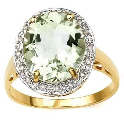 ELEGANT 4.25 CT GREEN AMETHYST & 16 PCS WHITE DIAMOND 10K SOLID YELLOW GOLD RING - Wholesalekings.com