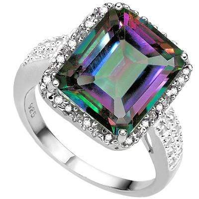 ELEGANT 5.60 CT MYSTIC GEMSTONE& 2 PCS WHITE DIAMOND PLATINUM OVER 0.925 STERLING SILVER RING - Wholesalekings.com