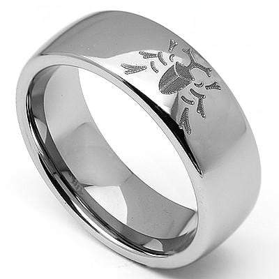 "ELEGANT  ""BEATLE"" LASER ENGRAVED TUNGSTEN CARBIDE RING wholesalekings wholesale silver jewelry"