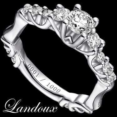 ELEGANT LANDOUX 1.17 CARAT TW (15 PCS) GENUINE DIAMOND & GENUINE DIAMOND 14K SOLID WHITE GOLD RING wholesalekings wholesale silver jewelry