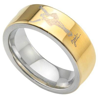 "ELEGANT YELLOW LASER ENGRAVED ""THE KING OF POP"" MICHAEL JACKSON GOLD PLATED CARBIDE TUNGSTEN RING - Wholesalekings.com"