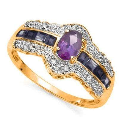 ELITE 0.45 CARAT AMETHYST & SAPPHIRE SET IN  24K GOLD PLATED SILVER RING - Wholesalekings.com