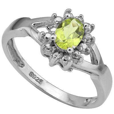 ELITE 0.512 CARAT TW (3 PCS) PERIDOT & GENUINE DIAMOND PLATINUM OVER 0.925 STERLING SILVER RING - Wholesalekings.com