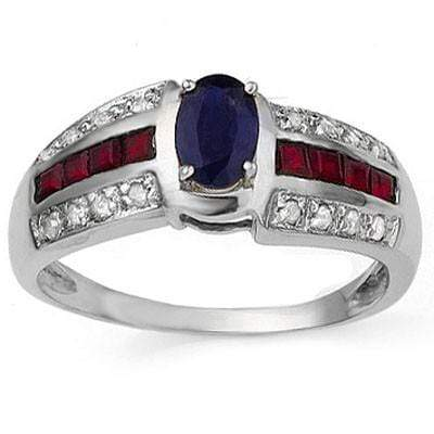 ELITE 0.52 CT GENUINE SAPPHIRE & 8 PCS GENUINE RUBY 10K SOLID WHITE GOLD RING wholesalekings wholesale silver jewelry