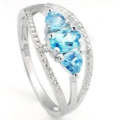 ELITE 0.979 CARAT TW (5 PCS) BLUE TOPAZ & BLUE TOPAZ PLATINUM OVER 0.925 STERLING SILVER RING - Wholesalekings.com