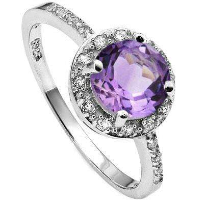 ELITE 1.65 CARAT TW AMETHYST & CUBIC ZIRCONIA PLATINUM OVER 0.925 STERLING SILVER RING - Wholesalekings.com