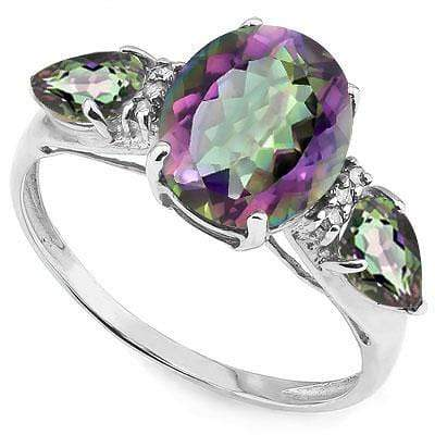 ELITE 3.212 CARAT TW (5 PCS) MYSTIC GEMSTONE & MYSTIC GEMSTONE PLATINUM OVER 0.925 STERLING SILVER RING - Wholesalekings.com