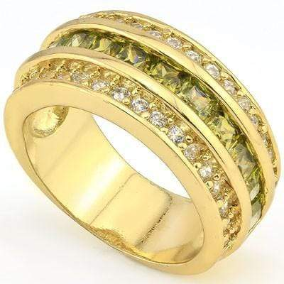 ELITE 3.30 CT CREATED GREEN TOURMALINE & 34 PCS CREATED WHITE SAPPHIRE 18K YELLOW GOLD OVER STERLING SILVER RING wholesalekings wholesale silver jewelry