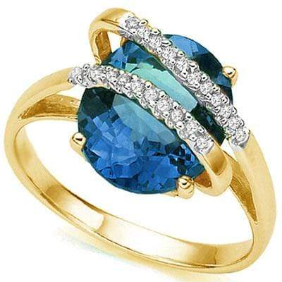 ELITE 5.59 CT LONDON BLUE TOPAZ & 22 PCS WHITE DIAMOND 10K SOLID YELLOW GOLD RING wholesalekings wholesale silver jewelry