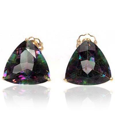 ELITE 6.79 CT MYSTIC GEMSTONE 10K SOLID YELLOW GOLD EARRINGS wholesalekings wholesale silver jewelry
