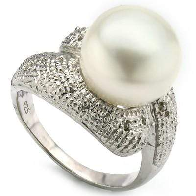ELITE 9.74 CT WHITE PEARL & 2 PCS WHITE DIAMOND PLATINUM OVER 0.925 STERLING SILVER RING - Wholesalekings.com