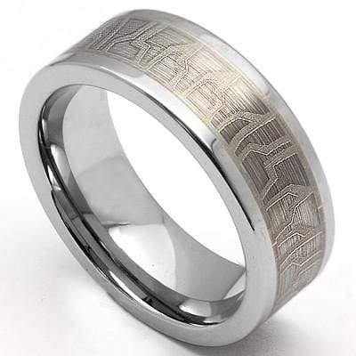 ELITE HIGH POLISH MATTE FINISH  CARBIDE TUNGSTEN RING - Wholesalekings.com