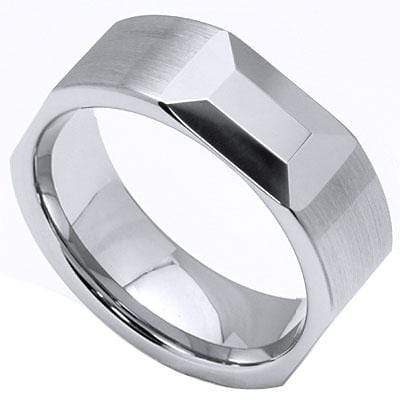 EMERALD SHAPE FACETED CARBIDE TUNGSTEN RING - Wholesalekings.com