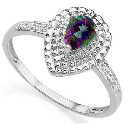 EXCELLENT 0.34 CARAT TW MYSTIC GEMSTONE & GENUINE DIAMOND PLATINUM OVER 0.925 STERLING SILVER RING - Wholesalekings.com