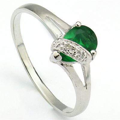 EXCELLENT 0.53 CT RUSSIAN EMERALD & 2 PCS GENUINE DIAMOND PLATINUM OVER 0.925 STERLING SILVER RING - Wholesalekings.com