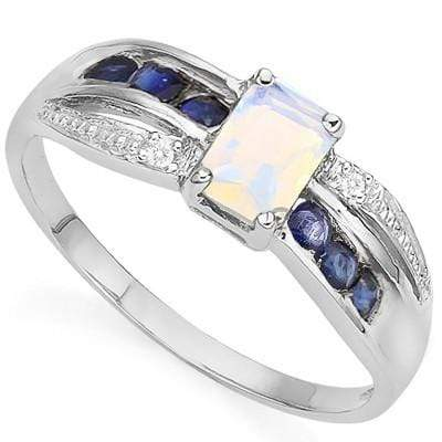 EXCELLENT 0.75 CT CREATED FIRE OPAL & 6 PCS GENUINE SAPPHIRE 0.925 STERLING SILVER W/ PLATINUM RING - Wholesalekings.com