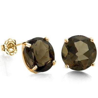 EXCELLENT 0.9 CARAT TW (2 PCS) SMOKEY TOPAZ 10K SOLID YELLOW GOLD EARRINGS - Wholesalekings.com