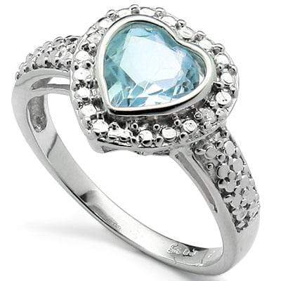 EXCELLENT 1.34 CARAT TW  BLUE TOPAZ & GENUINE DIAMOND PLATINUM OVER 0.925 STERLING SILVER RING wholesalekings wholesale silver jewelry