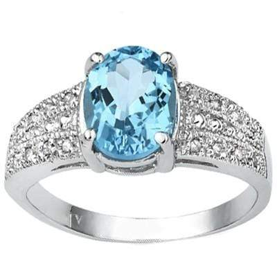 EXCELLENT 1.46 CARAT TW BLUE TOPAZ & GENUINE DIAMOND PLATINUM OVER 0.925 STERLING SILVER RING - Wholesalekings.com