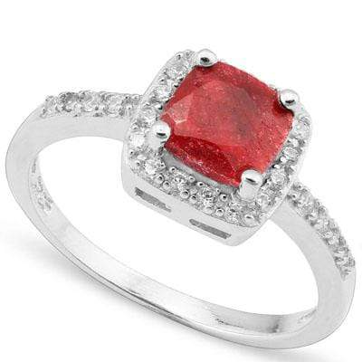 EXCELLENT 1.59 CARAT TW DYED GENUINE RUBY & CREATED WHITE SAPPHIRE PLATINUM OVER 0.925 STERLING SILVER RING - Wholesalekings.com