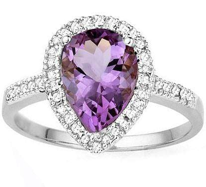 EXCELLENT 1.59 CT AMETHYST & 38 PCS WHITE DIAMOND 10K SOLID WHITE GOLD RING wholesalekings wholesale silver jewelry