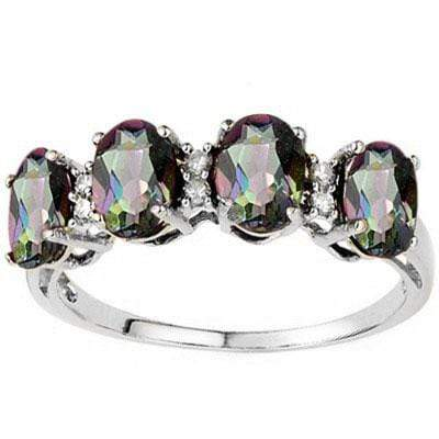EXCELLENT 1.81 CARAT TW  MYSTIC GEMSTONE & GENUINE DIAMOND PLATINUM OVER 0.925 STERLING SILVER RING - Wholesalekings.com