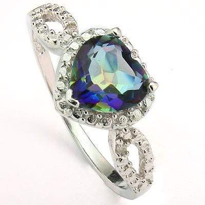 EXCELLENT 1.9 CT BLUE MYSTIC GEMSTONE & 2 PCS GENUINE DIAMOND PLATINUM OVER 0.925 STERLING SILVER RING - Wholesalekings.com