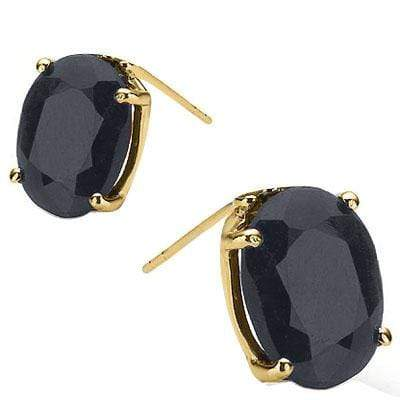 EXCELLENT 1 CARAT TW (2 PCS) GENUINE BLACK SAPPHIRE 10K SOLID YELLOW GOLD EARRIN - Wholesalekings.com