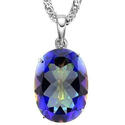EXCELLENT 11.13 CT BLUE MYSTIC GEMSTONE 10K SOLID WHITE GOLD PENDANT - Wholesalekings.com