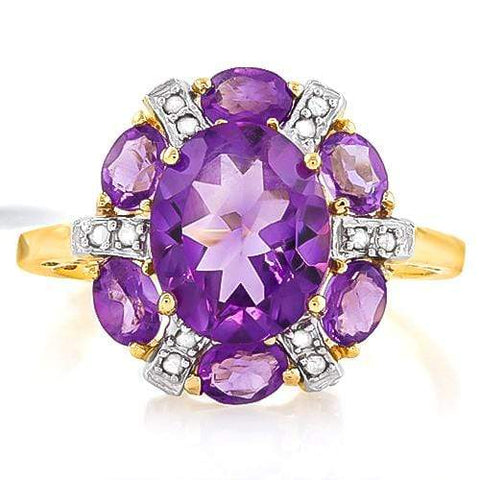 EXCELLENT 2.39 CT AMETHYST & 6 PCS AMETHYST 10K SOLID YELLOW GOLD RING - Wholesalekings.com