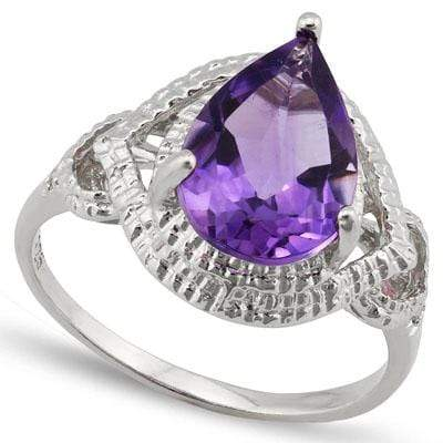 EXCELLENT 2.543 CARAT TW (3 PCS) AMETHYST & GENUINE DIAMOND PLATINUM OVER 0.925 STERLING SILVER RING - Wholesalekings.com