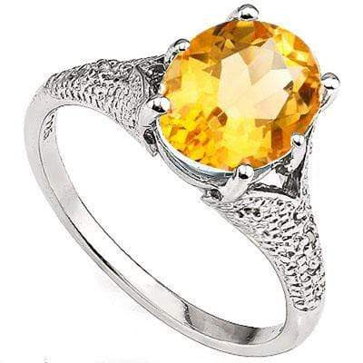 EXCELLENT 2.55 CT CITRINE & 2 PCS WHITE DIAMOND PLATINUM OVER 0.925 STERLING SILVER RING wholesalekings wholesale silver jewelry