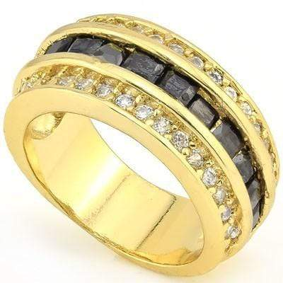 EXCELLENT 3.30 CT BLACK ONYX & 34 PCS CREATED WHITE SAPPHIRE 18K YELLOW GOLD OVER STERLING SILVER RING - Wholesalekings.com