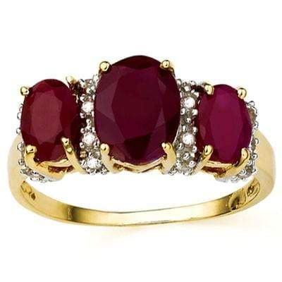 EXCELLENT 3.33 CARAT TW (19 PCS) GENUINE RUBY & GENUINE RUBY 10K SOLID YELLOW GOLD RING wholesalekings wholesale silver jewelry