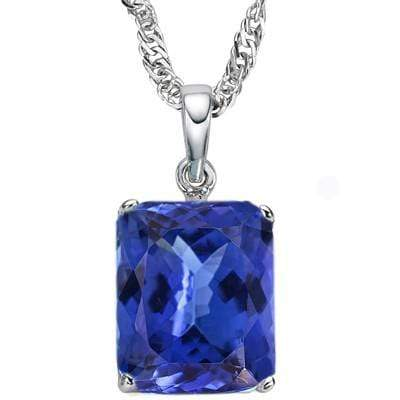 EXCELLENT 3.55 CARAT TW (1 PCS) LAB TANZANITE 10K SOLID WHITE GOLD PENDANT - Wholesalekings.com
