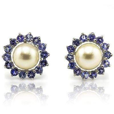 EXCELLENT 4.43 CT WHITE PEARL & 32 PCS GENUINE TANZANITE 10K SOLID WHITE GOLD EARRINGS wholesalekings wholesale silver jewelry