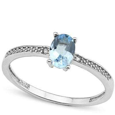 EXCLUSIVE 0.612 CARAT TW BLUE TOPAZ & GENUINE DIAMOND PLATINUM OVER 0.925 STERLING SILVER RING wholesalekings wholesale silver jewelry
