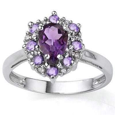 EXCLUSIVE 0.65 CT AMETHYST & 8 PCS AMETHYST 0.925 STERLING SILVER W/ PLATINUM  RING - Wholesalekings.com