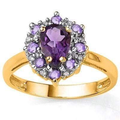 EXCLUSIVE 0.65 CT AMETHYST & 8 PCS AMETHYST 24K GOLD PLATED RING wholesalekings wholesale silver jewelry