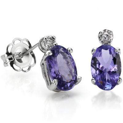 4/5 CT GENUINE TANZANITE & DIAMOND 10K SOLID GOLD EARRINGS STUD - Wholesalekings.com