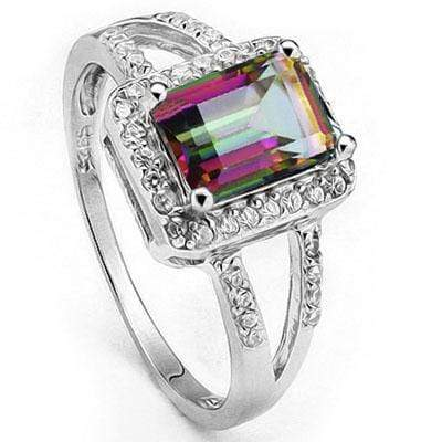 EXCLUSIVE 1.302 CARAT TW (29 PCS) MYSTIC GEMSTONE & CREATED WHITE SAPPHIRE PLATINUM OVER 0.925 STERLING SILVER RING - Wholesalekings.com