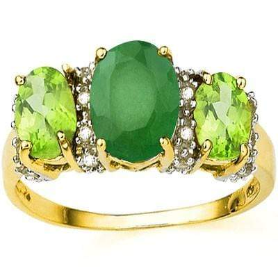 EXCLUSIVE 1.39 CT GENUINE EMERALD & 2 PCS PERIDOT 10K SOLID YELLOW GOLD RING wholesalekings wholesale silver jewelry