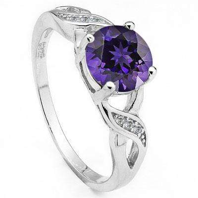 EXCLUSIVE 1.47 CARAT TW AMETHYST & CREATED WHITE SAPPHIRE PLATINUM OVER 0.925 STERLING SILVER RING - Wholesalekings.com