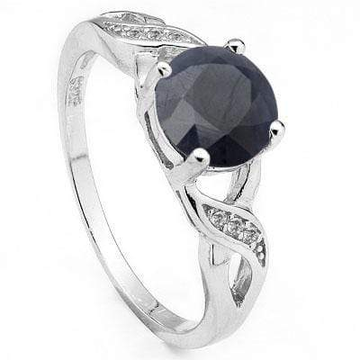 EXCLUSIVE 1.572 CARAT TW DYED GENUINE SAPPHIRE & CREATED WHITE SAPPHIRE PLATINUM OVER 0.925 STERLING SILVER RING - Wholesalekings.com