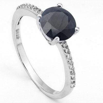 EXCLUSIVE 1.6 CARAT TW DYED GENUINE SAPPHIRE & CREATED WHITE SAPPHIRE PLATINUM OVER 0.925 STERLING SILVER RING - Wholesalekings.com