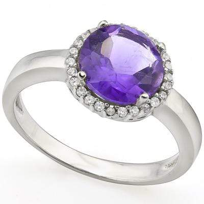 EXCLUSIVE 1.652 CARAT TW (24 PCS) AMETHYST & GENUINE DIAMOND PLATINUM OVER 0.925 STERLING SILVER RING - Wholesalekings.com