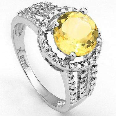 EXCLUSIVE 1.81 CARAT TW (3 PCS) CITRINE & GENUINE DIAMOND PLATINUM OVER 0.925 STERLING SILVER RING - Wholesalekings.com