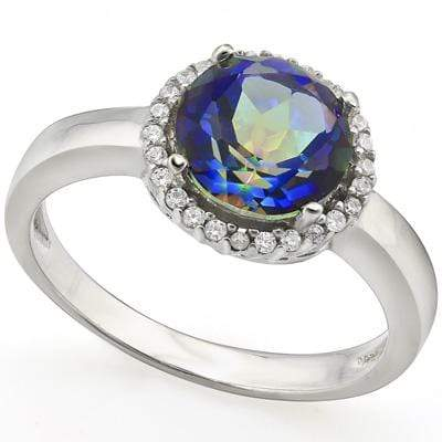EXCLUSIVE 1.82 CT OCEAN MYSTIC GEMSTONE & 1PCS GENUINE DIAMOND PLATINUM OVER 0.925 STERLING SILVER RING - Wholesalekings.com