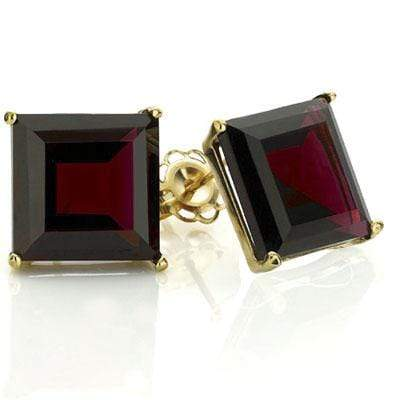 EXCLUSIVE 1 CARAT TW (2 PCS) GARNET 10K SOLID YELLOW GOLD EARRINGS - Wholesalekings.com